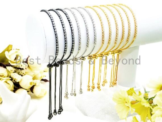 Adjustable Bracelet, CZ Pave Stud Bracelet Gold/Silver/Rose Gold/Gunmetal, Bridal Bracelet Jewelry, Swarovski bracelet,SKU#P13