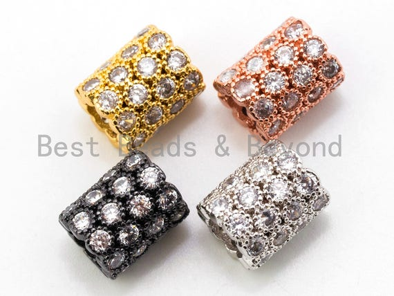 CZ Micro Pave European Large Hole 8x10mm Beads, Silver/Gold/Rose Gold/Black Tone, 8x10mm, 1pc, SKU#N39