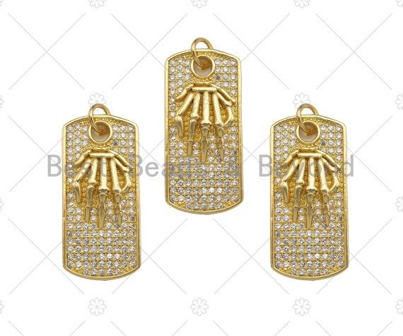 CZ Micro Pave Skeleton Hands On Rectangle Shape Pendant, Cubic Zirconia Rectangle Pendant, Gold Tone pendant, 12x25mm, Sku#LK177
