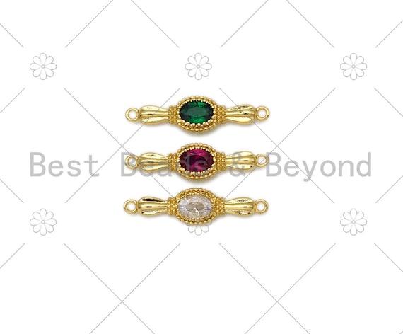 Colorful CZ Micro Pave Oval Shape Cinnector,18K Gold Filled Link, Necklace Bracelet Charm, 26x7mm,Sku#LK409