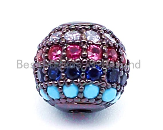 6mm/8mm/10mm CZ Pave Multi Colored Ball Space Beads, Rainbow Round CZ Beads with Black, Gold, Silver Finish, Bracelet Beads Charms,1/2pc