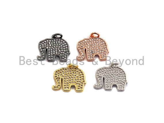 CZ Micro Pave Elephant Shaped Pendant/Charm, Cubic Zirconia Pendant Charm,17x15mm,sku#Z533