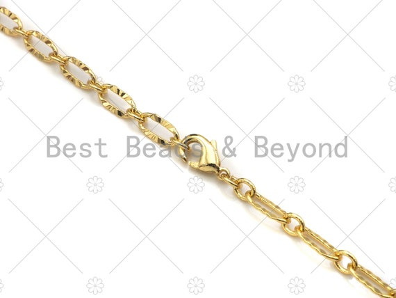 """Dainty Finished Gold Necklace and Bracelet for Women, Gold Chain Ready to wear w/Lobster Clasp, 19""""/32""""/7"""", sku#LK107"""