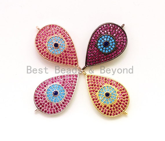 CZ Micro Pave Fuchsia Teardrop Connector with Turquoise Evil Eye for Bracelet/Necklace, Cubic Ziroconia Space Connector, 15x27mm,sku#E26