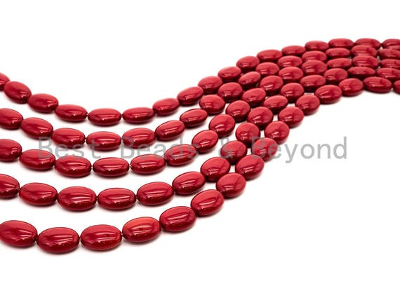 Red Natural Mother of Pearl beads,13x18x7mm Pearl Flat Oval beads, Loose Oval Smooth Pearl Shell Beads, 16inch strand, SKU#T82