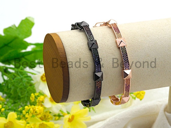 PRE-SELLING Colorful CZ Micro Pave Rivet Stud Bangle Bracelet, Black/Rose Gold Singular Bracelet, Minimal Bracelet,6x56x58mm,sku#X40