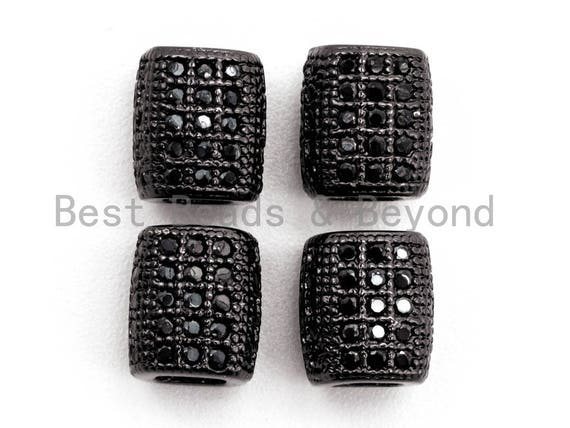 Black CZ Pave On Black Big Large Hole Barrel Spacer Micro Pave Beads, Cubic Zirconia Drum Barrel Space Beads, 7x6mm, SKU#G324