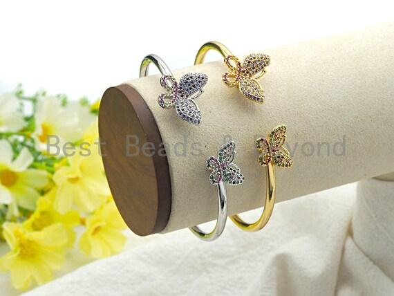Micro Pave Butterfly Open Cuff Bracelet, Cubic Zirconia Gold/Silver bracelet, Wire bracelt, Bangle bracelet,19x63x60mm,sku#X75