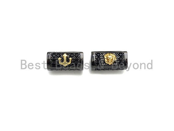 Lion Head/Anchor Bead,Tube Spacer Bead, Black CZ Pave Tube Spacer Beads for Men/Women Jewelry Making, 7x14mm, sku#Y242