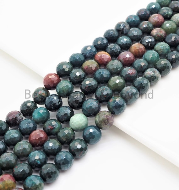 High Quality Natural Faceted Round Bloodstone beads, 6/8/10/12mm Natural Gemstone beads,Green Natural BloodStone, 15.5inch strand, SKU#U427
