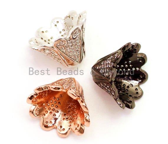 1pc/2pcs CZ Micro Pave Large Beads Cap, Metal Beads Cap,Tassel Cap, 18x12mm,sku#G88