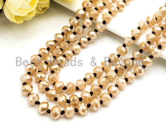 "36""/60"" Extra Long Knotted Crystal Necklace, 8mm Gold Faceted Crystal Beads, Double Wrap, Champagne Color, 60 inch or 36inch strand, SKU#D3"