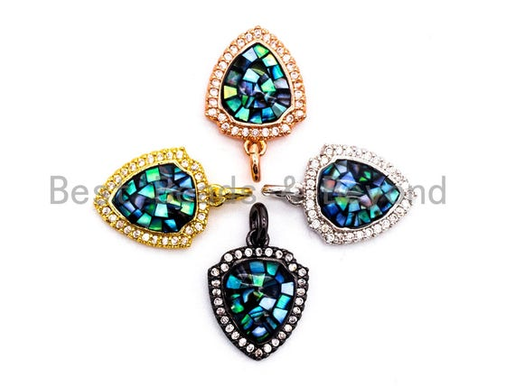 CZ Micro Pave Shield Shape Pendant with Abalone Shell, Cubic Zirconia CZ space Pendant,12x15mm,SKU#F416