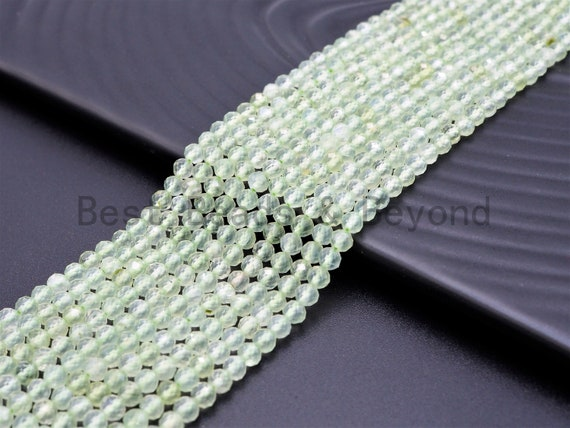 High Quality Natural Prehnite Quartz Round  Faceted Beads, 2mm/3mm/4mm beads Finish,Prehnite Gemstone Beads, 15.5inch strand, SKU#U360