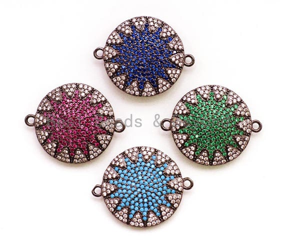CZ Micro Pave Polar Star/North Star on Black Plated Disc Round Connector, Colored Cubic Zirconia Space Connector, 20x25mm,sku#E15