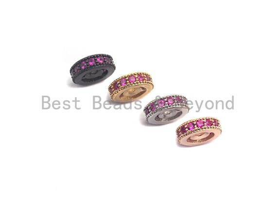 PRE-SELLING Fuchsia CZ Micro Pave Round Wheel Spacer Beads, Cubic Zirconia Spacer beads, Bracelet spacers, 8mm/10mm,sku#C106