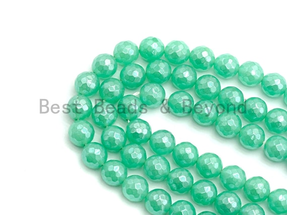 Quality Mystic Plated Chrysoprase Jade Round Faceted Beads, 8mm/10mm Green Color Jade Gemstone Beads, 15.5inch strand, SKU#U437