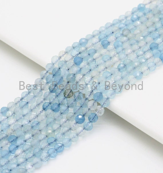 High Quality Natural Aquamarine Round/Rondelle beads, 3mm/4mm/3x4mm, Faceted Round/ Roundelle Gemstone Beads, 15.5inch strand, SKU#U421