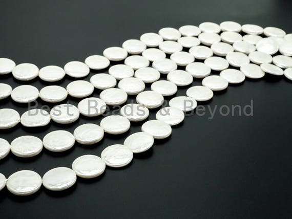 Quality Natural Plated MOP Pearl Shell Beads, 20mm/25mm/30mm, White Pearl Beads,Shell Beads, 16 inches Full strand, SKU#U115