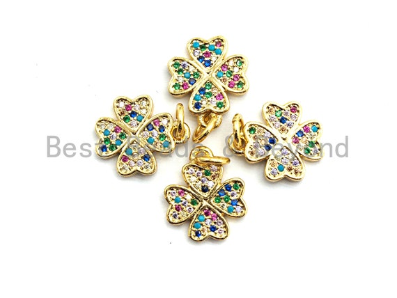 PRE-SELLING CZ Colorful Micro Pave Clover Pendant Charm, Clover  Shaped Pave Pendant, Gold plated, 11x13mm, Sku#F754
