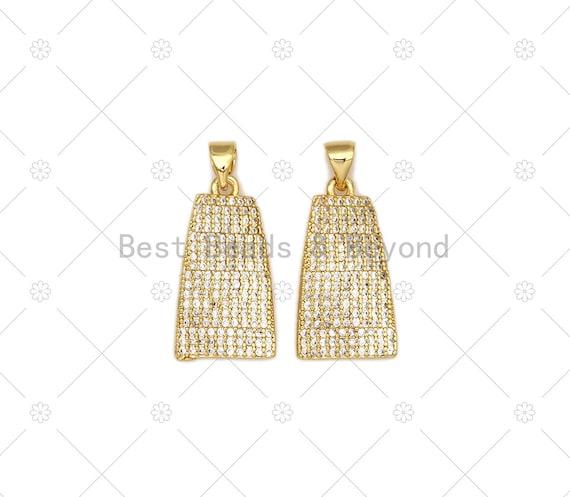 CZ Micro Pave Bell Shape Pendant, 18K Gold Filled Cubic Zirconia Charm, Necklace Bracelet Charm Pendant,12x22mm, Sku#LK474