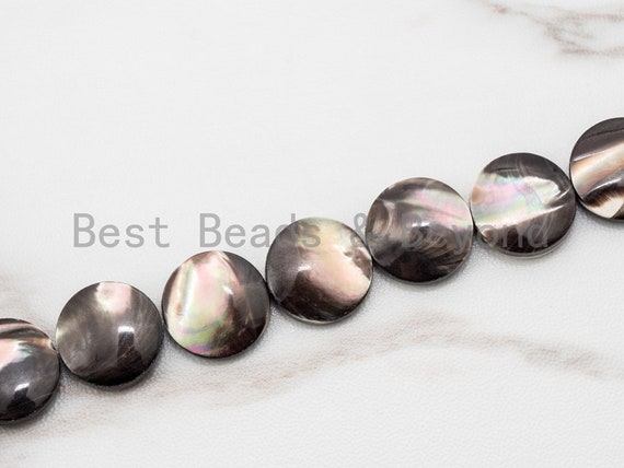 Natural Mother of Pearl beads, 10mm/12mm/15mm Brown Plated Mother of Pearl Flat Coin Beads strand, 16inch full strand, SKU#T45