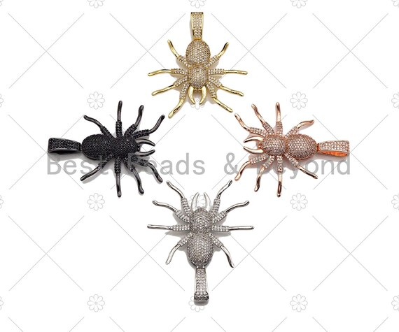 CZ Micro Pave Spider Shaped Pendant/Charm, Cubic Zirconia Pendant Charm, Focal Spider Charm, Halloween Charm, 40x47mm,Sku#L380