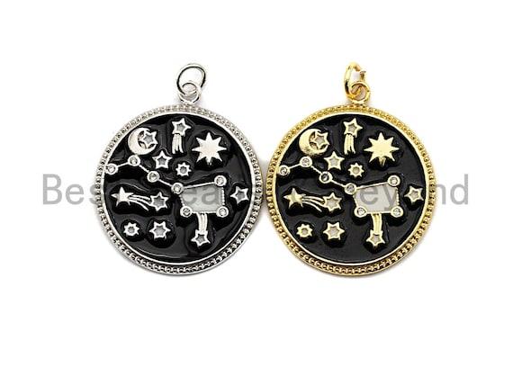 Black White Enamel Moon Star Big Dipper Sky Charms Pendant, Enamel Pendant,Enamel Round Pendant, Oil Drop jewelry Findings, 24x28mm,sku#Z364