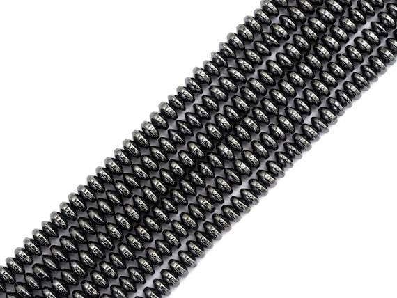 High Quality Natural Dark Gray/Black Hematite,Rondelle Smooth Beads, 2x3/2x4/4x6/3x6/3x8mm Gemstone Beads, 15inch FULL strand, SKU#S121
