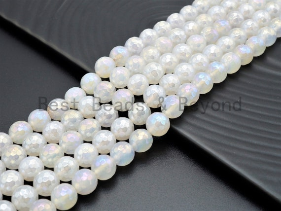 Mystic Plated Agate beads, 6mm/8mm/10mm/12mm Faceted Round Gemstone beads, AB Color Rainbow White Agate Beads, 15.5inch strand, SKU#U345