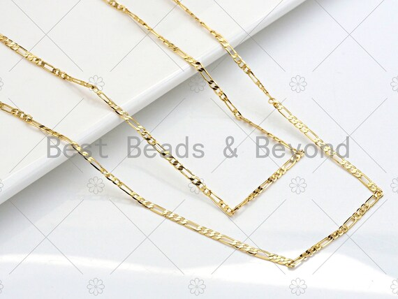 2.4mm Thin Flat Figaro Gold Chain by Yard, Slim Figaro Style Chain, Gold Plated Brass Chain, Wholesale Chain, sku#LK122