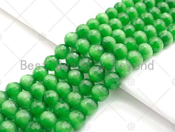 Special Cut Green Cat's Eye Round Faceted Beads, 6mm/8mm/10mm/12mm Round Faceted, 15.5'' Full Strand, Sku#UA199