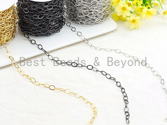 High Quality Flat oval Chain in Gold/Silver/Gunmetal/Rose gold Finish, Long Flat Oval chain, 8x12mm link size, sku#E504