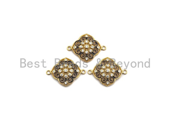 CZ Micro Pave Filigree Flower Connector, Gold plated, Pave Link Connector, 19x25mm, Sku#Z623