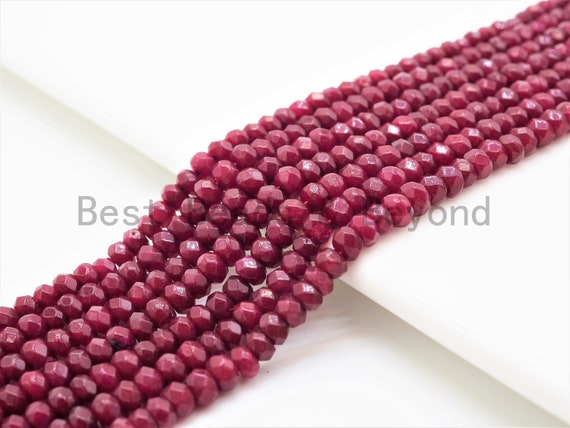 2x3mm/2x4mm Faceted Rondelle Dyed Ruby Jade beads,Red Gemstone beads, Ruby Jade Beads, 15.5inch strand, SKU#U324