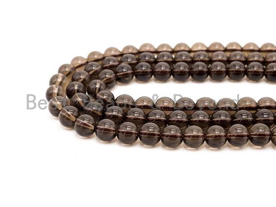 Natural Smoky Quartz Round Smooth beads, 6mm/8mm/10mm/12mm Round Quartz beads,15.5 Full Strand, SKU#V12