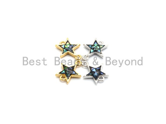 100% Natural Abalone Shell Five Star Connector, Gold/Silver Plated Abalone, Bracelet/ Necklace Making Connector, 11x13mm,SKU#Z299