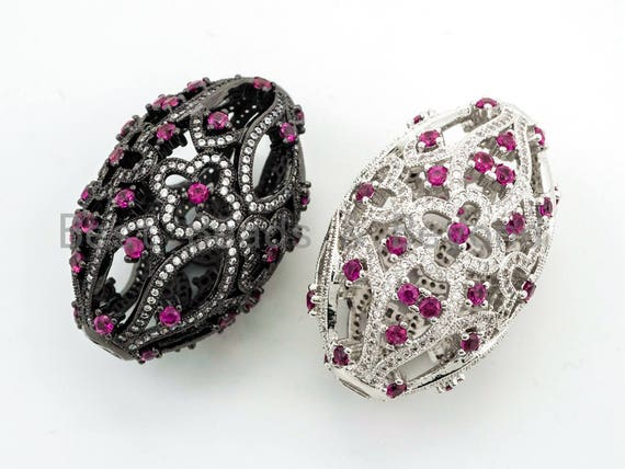 CZ Micro Pave Big Oval Cage Spacer Beads, Art Deco Pendant/ Pendant Connector, Fuchsia Cubic Zirconia Pave Pendant, 27x41mm,sku#Y59