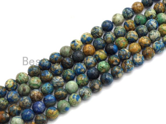 High Quality Natural Chryscolla Lapis Round Smooth Beads,6mm/8mm/10mm/12mm beads,Green Blue Brown Gemstone, 15.5inch strand, SKU#U433