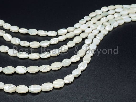 "High Quality White Mother of Pearl, Mop Shell, Oval Smooth Beads, 8x10mm/8x12mm/10x14mm/13x18mm/15x20mm/18x25mm, 15""-16 strand, SKU#T6"
