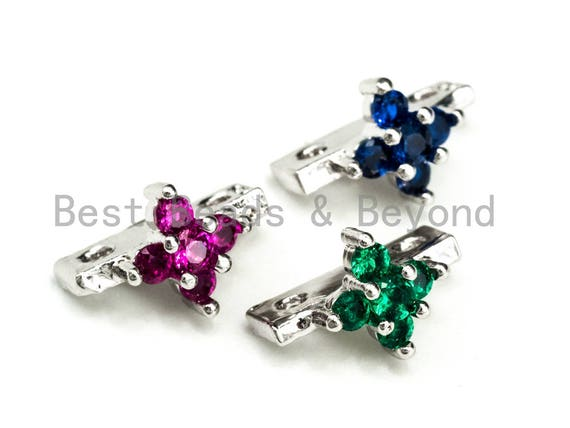 1/5/10pcs CZ Micro Pave Spacer Beads for Double Strand Necklace Bracelet, Fuchsia/Blue/Green Cubic Zirconia Space Beads, 7x11mm, sku#N41