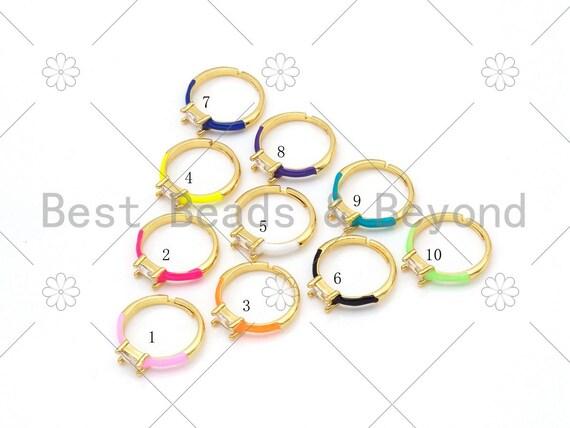 Colorful Enamel Adjustable  Ring, 18K Gold Filled Enamel Stacking Ring, Adjustable Ring, Fashion Enamel Jewelry, 21mm, Sku#X235