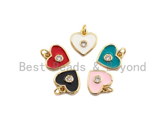 Enamel Colorful Big Cz On Heart Pendant,CZ Micro Pave Oil Drop pendant,Enamel pendant,Enamel Jewelry,11mm,sku#Z643