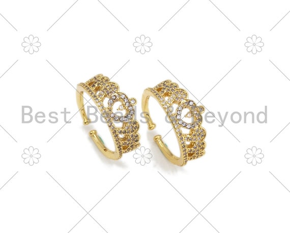 CZ Micro Pave Crown Shape Adjustable Ring,18K Gold Filled Cubic Zirconia Oepn Ring, CZ Heart Ring, 21mm,Sku#X237