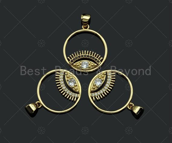 18k Dainty Gold Evil Eye With Long Eyelash On Round Ring Shape Charms, Dainty Charms,Round Ring Necklace Charms, 18x20mm, Sku#LK173
