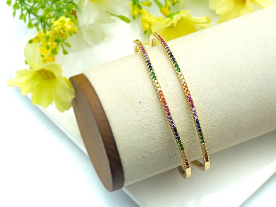 PRE-SELLING Colorful CZ Micro Pave Double Bar Cuff, Double Bar Rainbow Cubic Zirconia Gold Bracelet, Adjustable Bracelet, 12x53x57mm,sku#X26