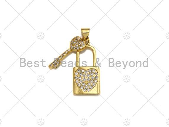 18K Gold CZ Micro Pave Lock with Key Pendant, Lock Pave Pendant, Gold Padlock, 12x26mm, Sku#LK18