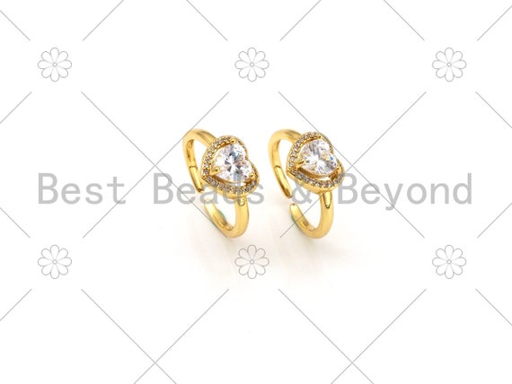 Big CZ Micro Pave Heart Shape Adjustable Ring,18K Gold Filled Cubic Zirconia Open Ring, CZ Heart Statement Ring, 21mm,Sku#X236