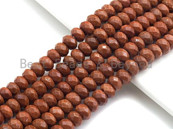 """2mm Large Hole Natural Goldstone Beads, Rondelle Faceted 5x8mm, 8"""" Long Strands, sku#U729"""
