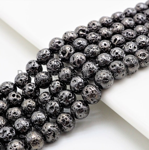 "New Style-Plated Black Lava Round Beads, 4mm/6mm/8mm/10mm/12mm Black Gemstone Beads,15.5"" Full Strand,SKU#S112"